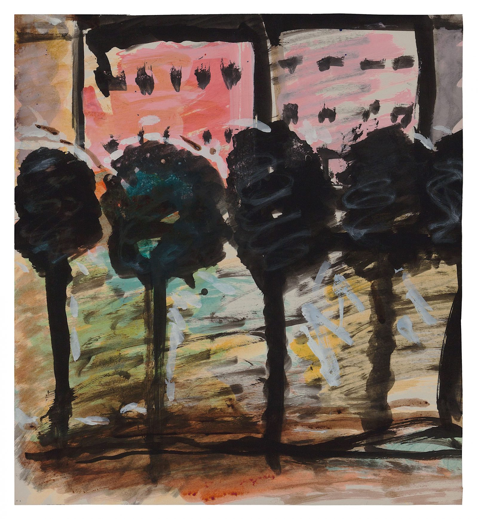 Uncle Tom's Cabin (Street Named after Corner Pub, Berlin), c. 1958. White gouache, black ink and watercolour on paper, 18.5 x 18.8 in. (47 x 42.8 cm). Private collection. Photo Malcolm Varon ©Bianca Stock
