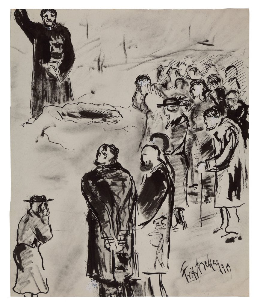 "Fritz Ascher, Burial, 1919. White gouache over black ink on paper, 13.8 x 11.6 in. (35 x 29.5 cm). Signed and dated on lower right, ""Fritz Ascher 1919"". Private collection. Photo Malcolm Varon ©Bianca Stock"
