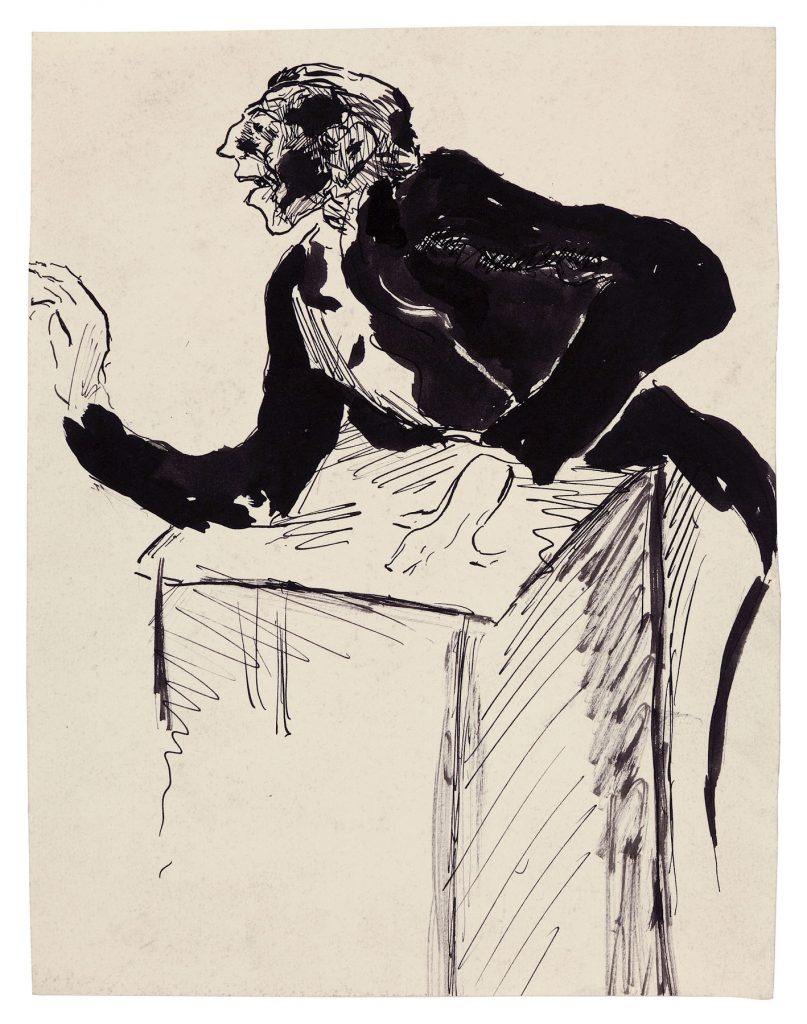 Fritz Ascher, Conductor, c. 1913. Black ink on paper, 10.2 x 7.8 in. (25.8 x 19.8 cm). Collection Nicole Trau. Photo Malcolm Varon ©Bianca Stock