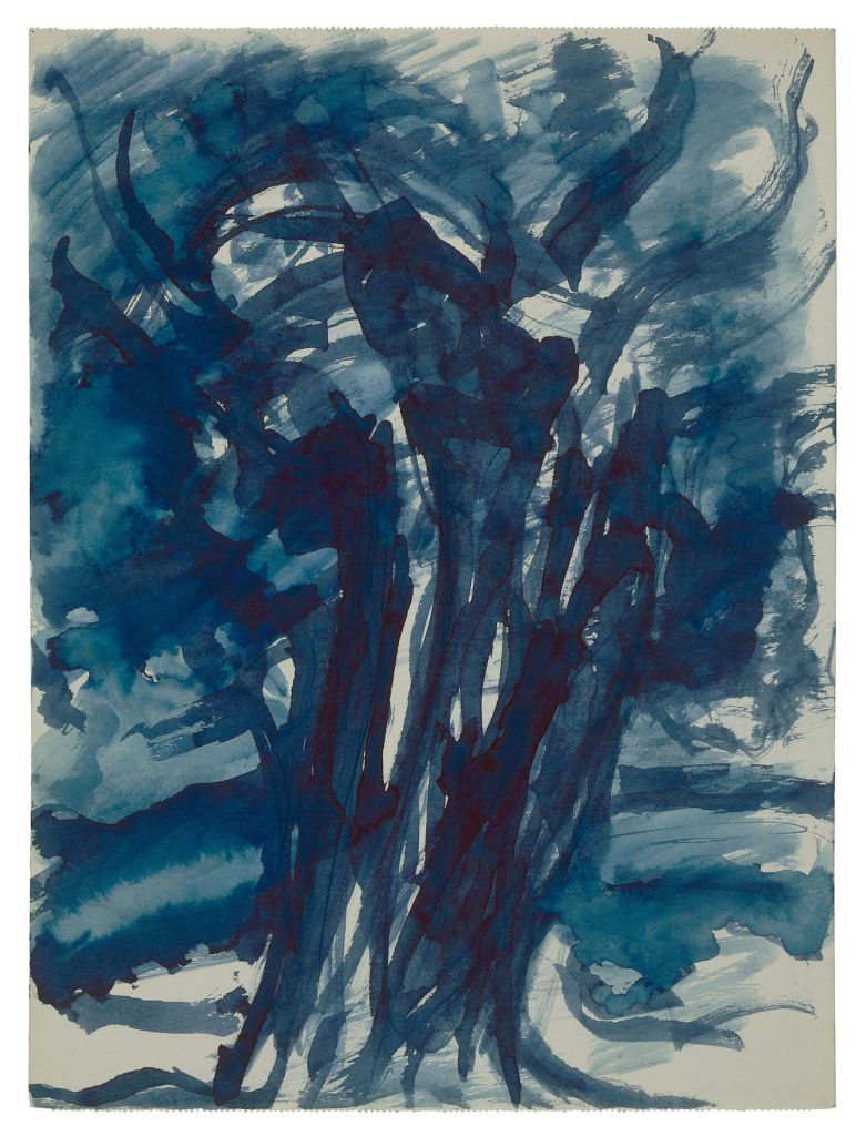 Tree, c. 1960. Blue watercolour on paper, 15.7 x 11.6 in. (40 x 29.5 cm). Private collection. Photo Malcolm Varon ©Bianca Stock